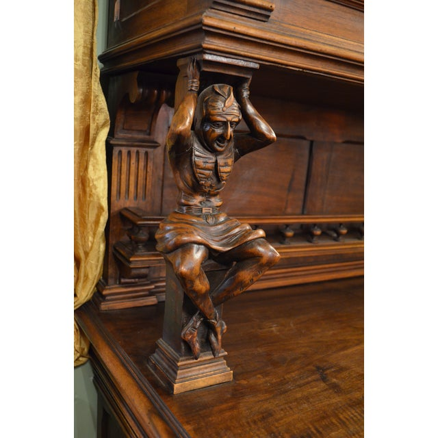 Antique French Ornate Walnut Hand Carved Figural Gothic Bookcase Cabinet For Sale - Image 10 of 11
