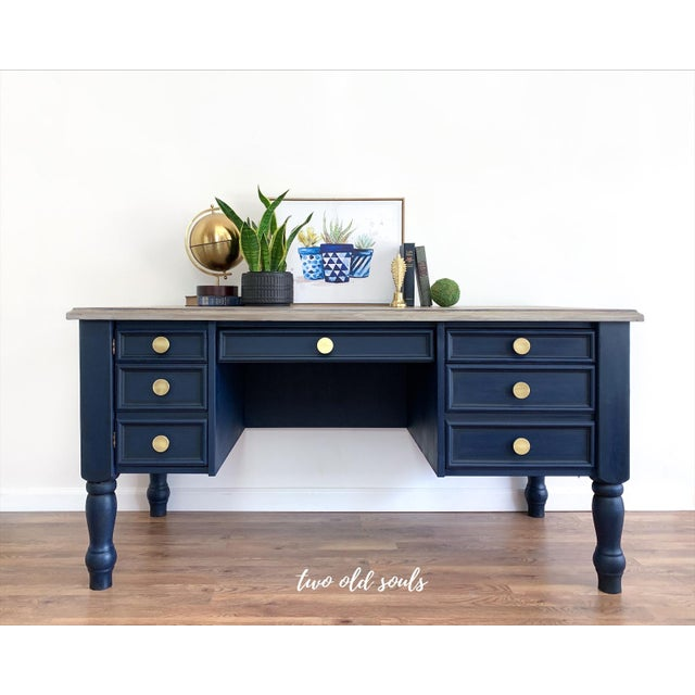 Add color and style to your office or home office space with this classic navy executive desk. Featuring a driftwood...