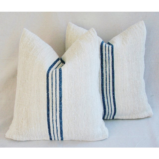 Blue Striped French Grain Sack Pillows - A Pair - Image 8 of 11