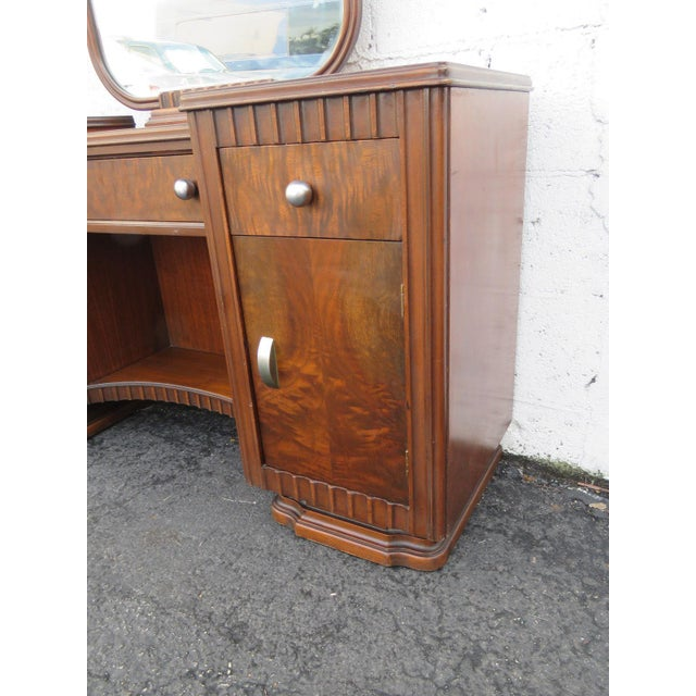 Art Deco Walnut Set of Vanity Writing Desk With Mirror and Chair For Sale - Image 9 of 11