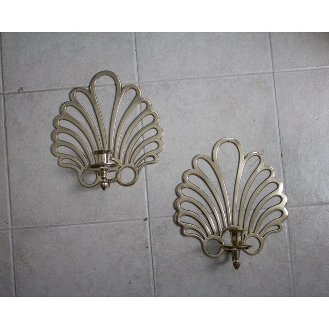 Yellow French Art Deco Brass Candle Sconces - a Pair For Sale - Image 8 of 8