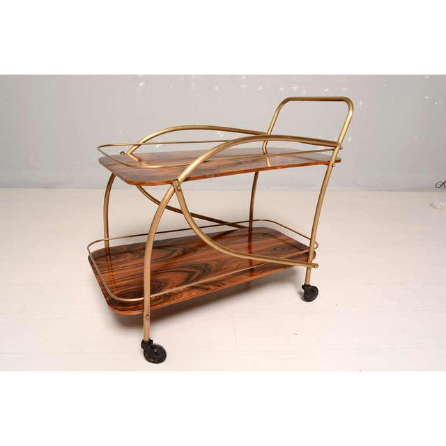 1950s Brazilian Rosewood Double Deck Service Cart For Sale - Image 5 of 10
