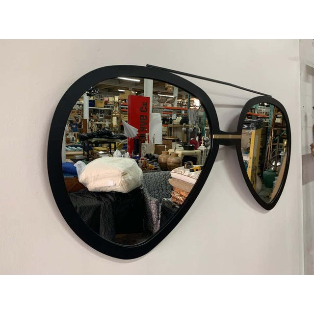 Late 20th Century Vintage Aviator Sunglasses Mirror in Black Matte Frame For Sale - Image 5 of 7