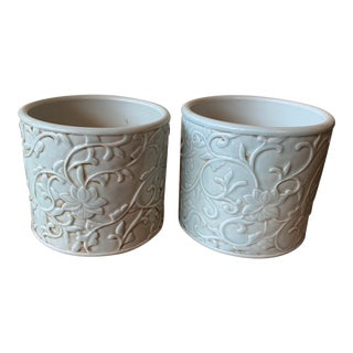 Chinese Celadon Brush Pots - a Pair For Sale