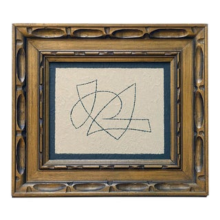 "Original Abstract ""Flight II"" Painting in Vintage Gold Frame For Sale"