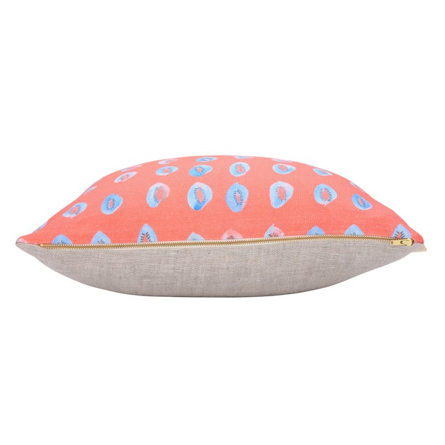 """Blue Kiwis on Bright Coral Linen Pillow - 18"""" x 18"""" - Image 3 of 4"""