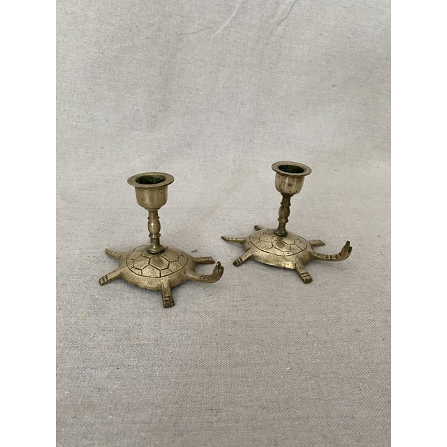 Vintage Brass Turtle Candlesticks- a Pair For Sale - Image 4 of 11