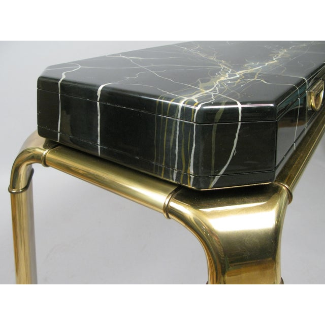 Widdicomb Brass and Faux Marble Console Table by Widdicomb For Sale - Image 4 of 8