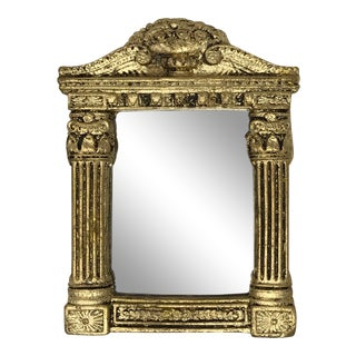 Neoclassical Gilded Plaster Mirror & Lucite Stand | Gift Ideas For Sale
