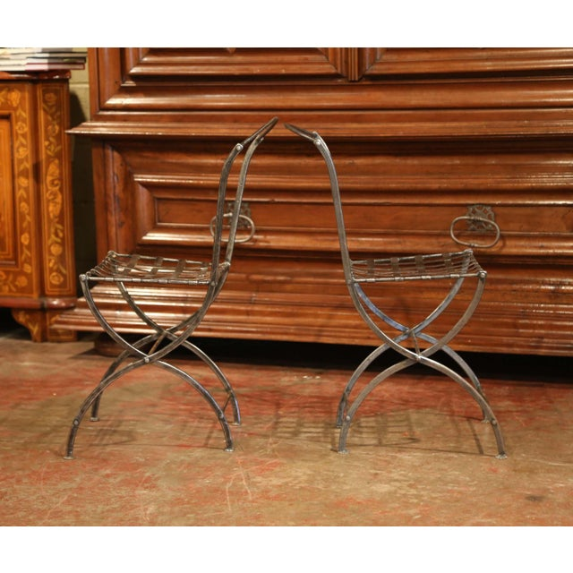 19th Century French Polished Iron Bistro Chairs From Paris - a Pair For Sale In Dallas - Image 6 of 11