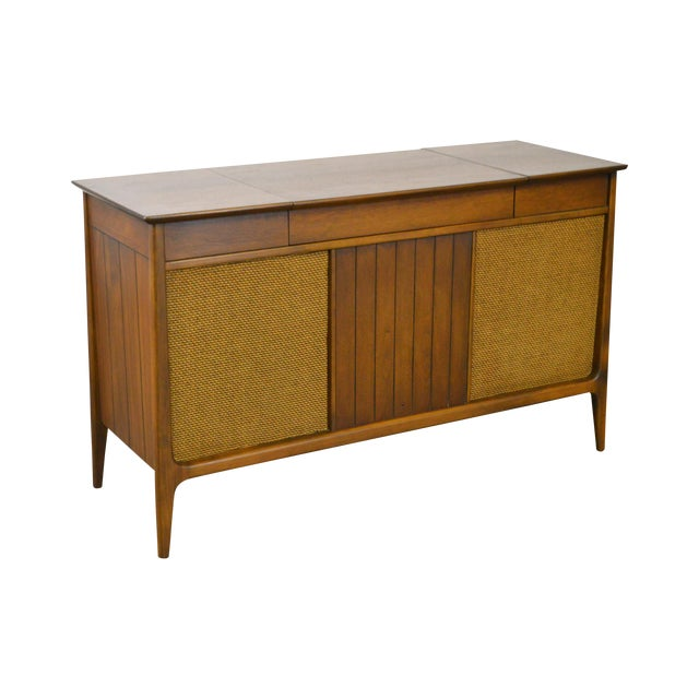 Mid Century Modern Danish Style Stereo Console w/ Record Player For Sale