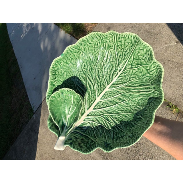 Vintage ceramic, hand-painted cabbage leaf serving bowl—a larger bowl with a smaller bowl inside. Hand-painted, stamped on...
