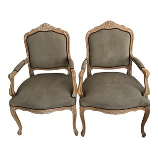 1990s Vintage French Soft Sage Suede Chairs- A Pair For Sale