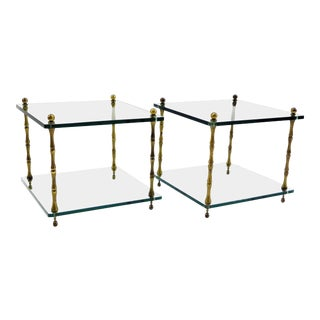 1960s Hollywood Regency Faux Bamboo Brass and Glass Occasional Side Tables - a Pair For Sale