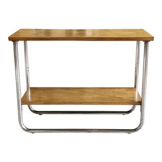 1930s Contemporary Wolfgang Hoffmann for Howell Two-Tier Maple and Chrome Side Table For Sale