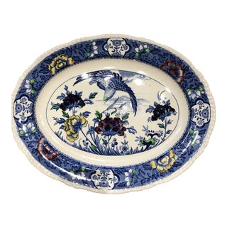 Antique English Blue and White Hand-Colored Oval Serving Platter For Sale
