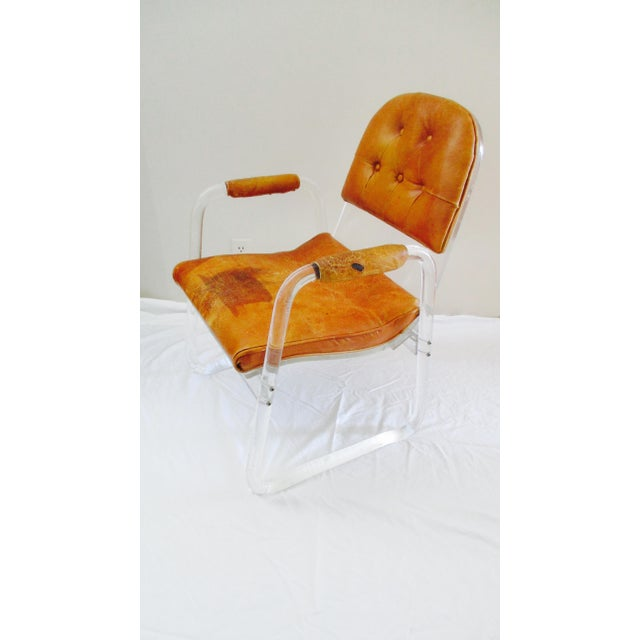Charles Hollis Jones Hill Manuf Lucite and Leather Club Chair - Custom Piece For Sale - Image 4 of 13
