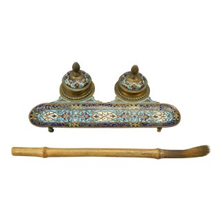 Gorgeous Antique Chinese Cloisonne Ink Well Set and Bamboo Brush 19th Ct For Sale
