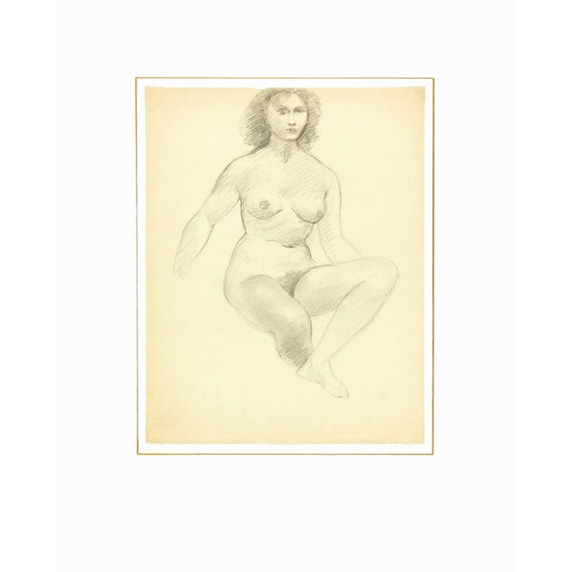 Female Figure Drawing Free Mat&Shipping, C. 1940 - Image 3 of 3