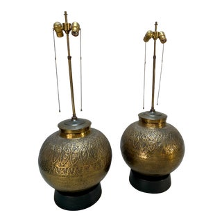 Monumental Brass Spherical Scroll Chapman Style Table Lamps - a Pair For Sale