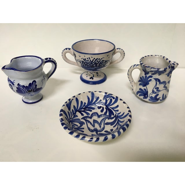Cottage 1950's Italian Blue & White Hand Painted Pottery/Ceramic - 4 Pc. For Sale - Image 3 of 11