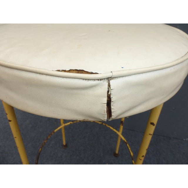 White Vintage Yellow Metal & White Vinyl Bar Stool French Country Farmhouse Industrial For Sale - Image 8 of 11