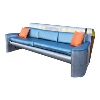 Vintage Industrial Recycled Aircraft Sofa For Sale