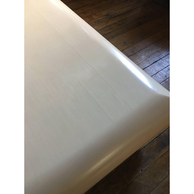 Wood Monumental Karl Springer Style Bullnose Coffee Table, Tessellated Stone For Sale - Image 7 of 12