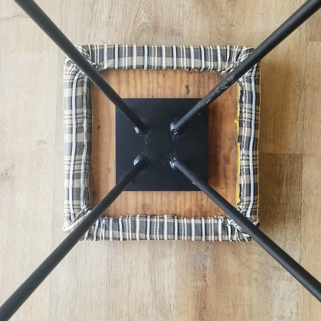 Newly Uphostered Mid-Century Modern Iron Counter Stools - a Pair For Sale - Image 9 of 10