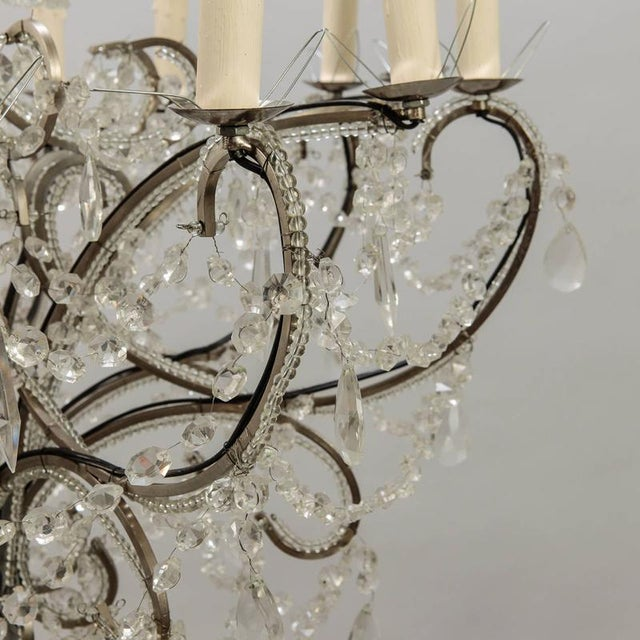 Silver Sixteen Arm Silver Metal Highly Beaded French Chandelier For Sale - Image 8 of 9