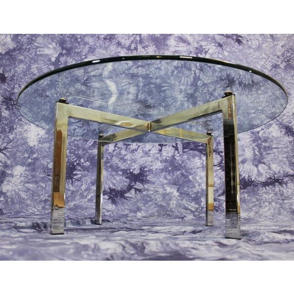 Barcelona Mid-Century Modern Round Glass Top Coffee Table - Image 5 of 7