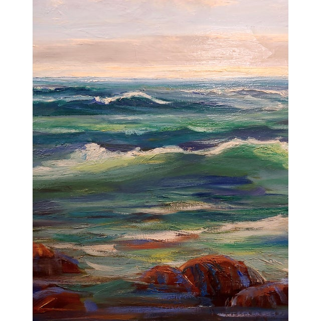 James Arthur Merriam California Rocky Seascape Oil Painting For Sale - Image 4 of 9