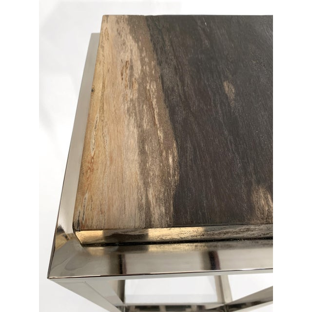 Palecek Modern Palecek Fossilized Stone Tall Side Table With Chrome Base For Sale - Image 4 of 6