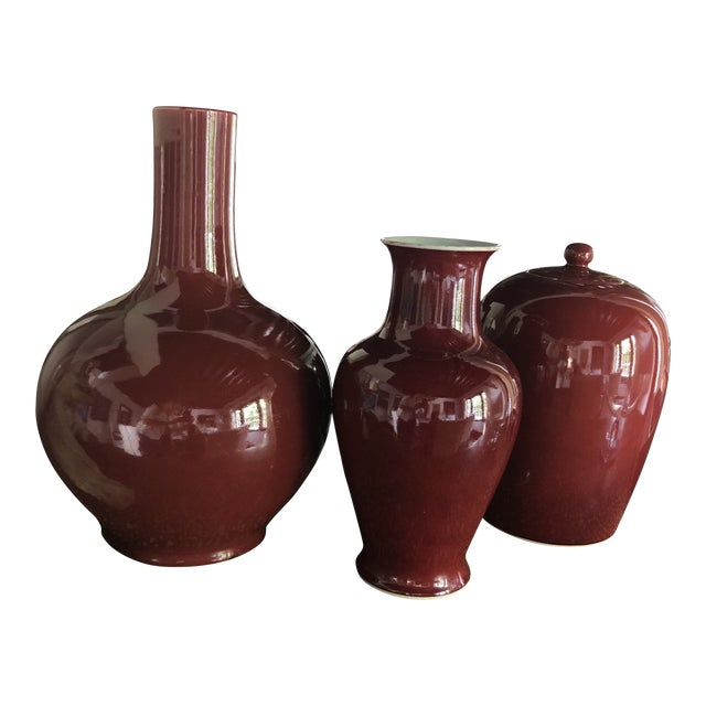 Oxblood Vases Collection, S/3 For Sale