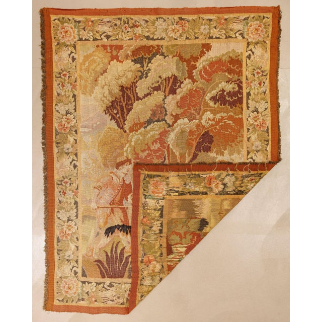 """Antique Old World Hunting Tapestry, Circa 1900, 4'10"""" X 6'5"""" For Sale - Image 9 of 11"""