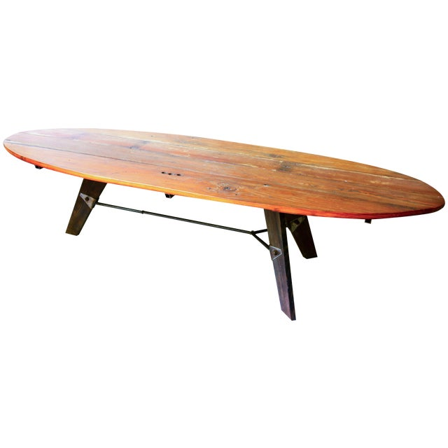 Mid-Century Reclaimed Wood Surfboard Coffee Table - Image 1 of 11
