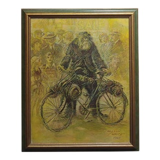 Christian Nelson White - Portrait of a Bum With Bicycle -1965 Painting For Sale