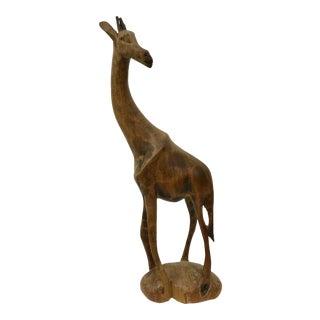 1930's Vintage Hand Carved Wood Giraffe Figurine For Sale