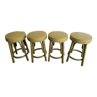 Rattan and Vinyl Stools -Set of 4 For Sale