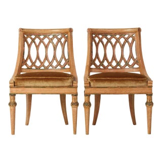 Italian Carved Wood Slipper Chairs - A Pair For Sale