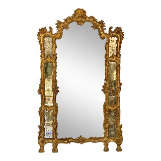 19th-20th Century Italian Giltwood Etched Mirror Louis XVI Style For Sale