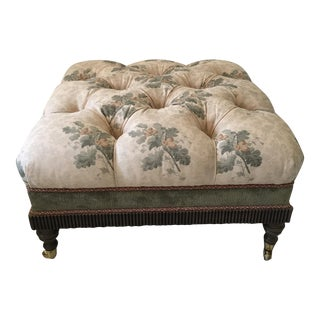 Floral Square Tufted Ottoman With Brass Feet
