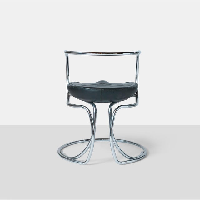 Vladimir Tatlin Tubular Chrome Chairs with Black Leather For Sale In San Francisco - Image 6 of 9