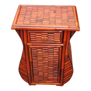 Red Bamboo Night Stand Occasional Table For Sale