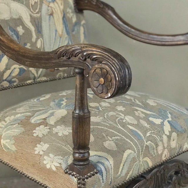 Gray 19th Century French Louis XIII Armchair With Tapestry For Sale - Image 8 of 12