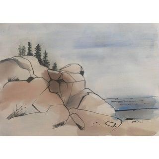 Rocky Coastal Watercolor 1960s For Sale