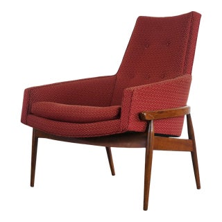 Mid Century Modern High Back Barrel Chair by Milo Baughman in Ruby Red, USA For Sale