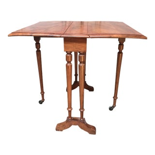 19th Century English Sutherland Drop-Leaf Table in Walnut and Kingwood Veneer For Sale