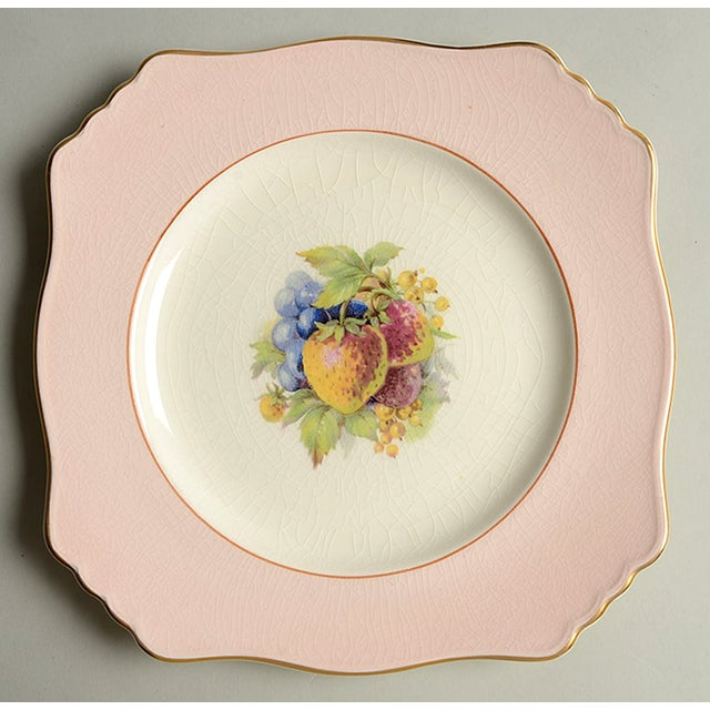 Royal Winton Square Salad Plate Mixed Fruit Motif - Set of 4 For Sale In Greensboro - Image 6 of 12