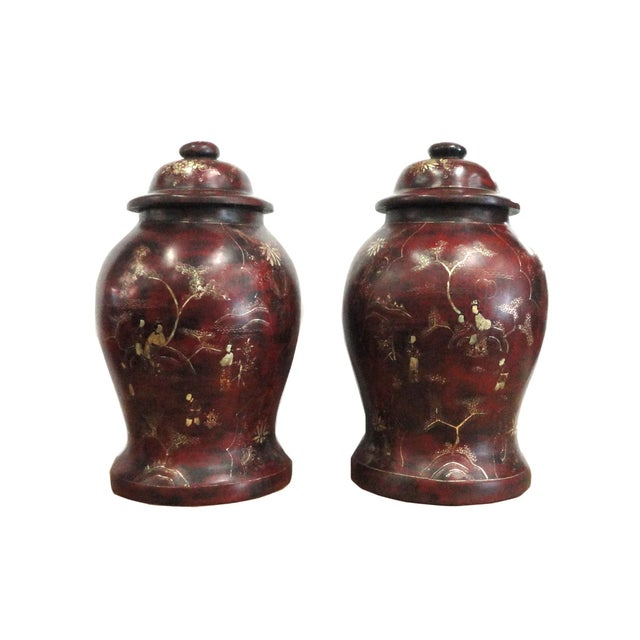 Brown Lacquer Godlen Scenery Jars - Pair - Image 1 of 6